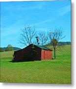 Lonely Hay Bale Metal Print