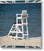 Lonely Lifeguard Station At The End Of Summer Metal Print