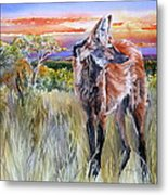Lonely Lobo Sunset Metal Print