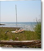 Lonely Sailboat Metal Print
