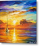 Lonely Sea 2 - Palette Knife Oil Painting On Canvas By Leonid Afremov Metal Print