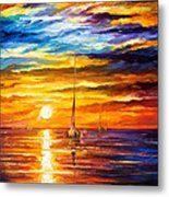 Lonely Sea 3 - Palette Knife Oil Painting On Canvas By Leonid Afremov Metal Print