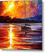 Lonely Yacht - Palette Knife Oil Painting On Canvas By Leonid Afremov Metal Print