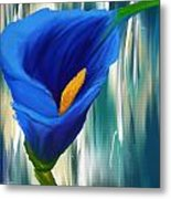 Lonesome And Blue- Blue Calla Lily Paintings Metal Print