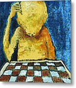 Lonesome Chess Player Metal Print