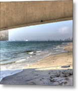Long Beach From Beneath The Pier Metal Print