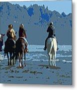 Long Beach Horses Study Metal Print
