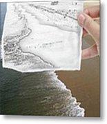 Long Beach Shoreline / Torn Sketch Effect Metal Print