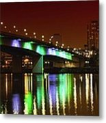 Long Beach Skyline At Night Metal Print