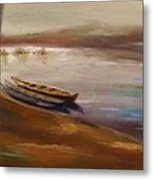 Long Boats At The Crossing Metal Print