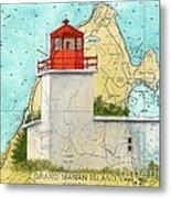 Long Eddy Pt Lighthouse Nb Canada Chart Art Peek Metal Print