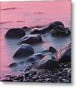 Long Exsposure Of Rocks And Waves At Sunset Maine Metal Print