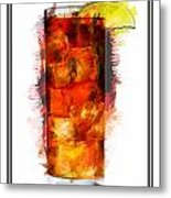Long Island Iced Tea Cocktail Marker Sketch Metal Print
