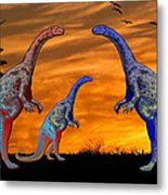 Long Necked Long Tailed Family Of Dinosaurs At Sunset Metal Print