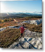 Long Shadows In The Evening High Atop Metal Print
