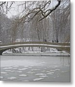 Long Snow Covered Bridge Metal Print