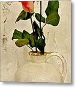 Long Stemmed Red Roses In Pottery Metal Print