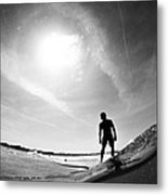 Longboarder Riding A Small Wave Metal Print