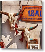 Longhorn Skulls On The Wall Metal Print