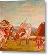 Longhorns On The Plateau Metal Print