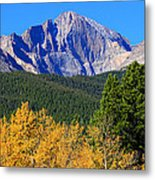 Longs Peak Autumn Aspen Landscape View Metal Print