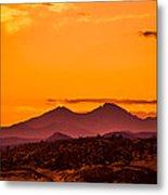 Longs Peak Smoke And Sunset Metal Print by Rebecca Adams