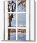 Longs Peak Winter View Through A White Window Frame Metal Print