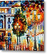Lonley Couples - Palette Knife Oil Painting On Canvas By Leonid Afremov Metal Print