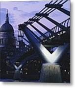 Looking Along The Millennium Bridge Metal Print