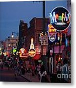Looking Down Beale Street Memphis Metal Print