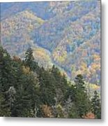 Looking Down On Autumn From The Top Of Smoky Mountains Metal Print