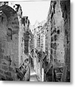 Looking Down On Internal Walkways From Upper Tier Of Old Roman Colloseum El Jem Tunisia Metal Print