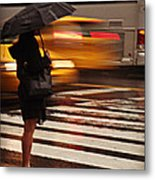Looking For A Taxi - Rush Hour New York Metal Print