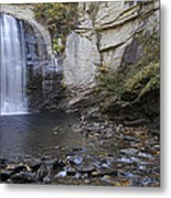 Looking Glass Falls With Trout Fishing - North Carolina Waterfalls Series Metal Print
