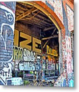 Looking Inside The Old Train Roundhouse At Bayshore Near San Francisco And The Cow Palace IIi  Metal Print