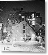 looking out atTromso bryggen quay harbour on a cold snowy winter night troms Norway europe Metal Print
