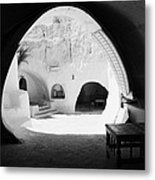looking out from one of the caves at the Sidi Driss Hotel underground at Matmata Tunisia scene of Star Wars films Metal Print
