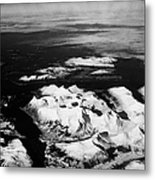 Looking Out Of Aircraft Window Over Snow Covered Fjords And Coastline Of Norway Northern Europe Metal Print