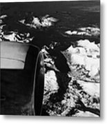 Looking Out Of Aircraft Window Past Engine And Over Snow Covered Fjords And Coastline Of Norway Euro Metal Print
