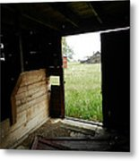 Looking Out Old Barn Metal Print