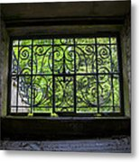 Looking Through Old Basement Window On To Vibrant Green Foliage Fine Art Photography Print  Metal Print