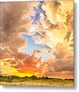 Looking Through The Colorful Sunset To Blue Metal Print