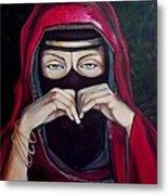 Looking Through Niqab Metal Print