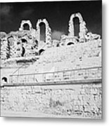 Looking Up At Rear Remains And Layered Seating Area In The Main Arena Of The Old Roman Colloseum At El Jem Tunisia Metal Print