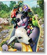 Lord Krishna On The Govardhan Metal Print