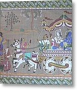 Lord Krishna With Brother Visiting Mathura Metal Print