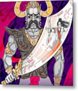 Lord Rama With Demon Ravana In Happy Metal Print