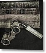 Lorgnette With Books Metal Print