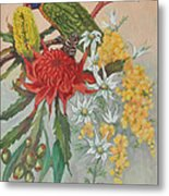 Lorikeet And Wildflowers Metal Print
