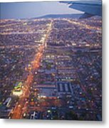 Los Angeles Aerial Overview On Approach To Lax At Night  Metal Print